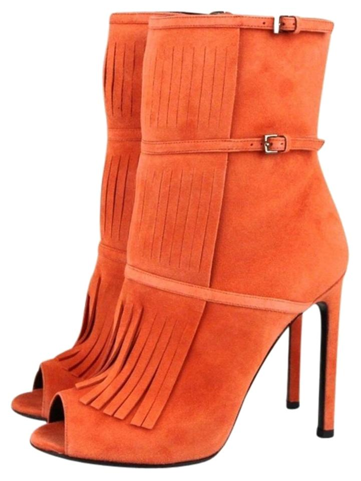 b610490a5bb Gucci Orange Suede Becky Gladiator Peep Toe 37 7 347283 6525 Boots Booties  Size EU 37 (Approx. US 7) Regular (M