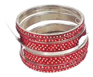 Chamak by Priya Kakkar Chamak by Priya Kakkar Sparkling Glitter Bangle Bracelets Set of 6 Red NWT