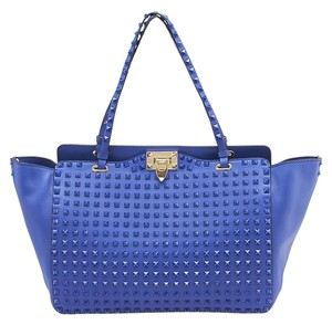 Valentino Rockstud Medium Leather Tote in Blue
