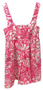 Anthropologie short dress Bright Pink / White Vanessa Virginia Garden Party Shift on Tradesy