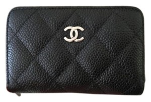 Chanel Brand new w/ tags CHANEL Small Zip Card/Coin Case Black Caviar SHW