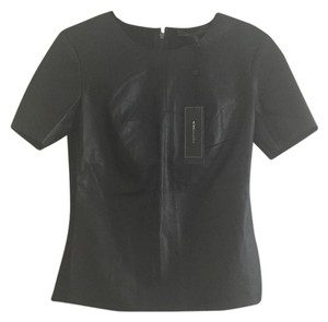 BCBGMAXAZRIA Faux Leather Top Black
