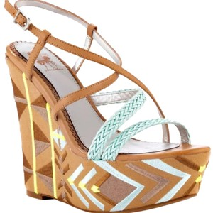 Sam Edelman Nude teal and neon green Wedges