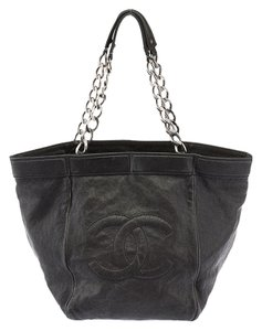 Chanel Leather Distressed Tote in Black
