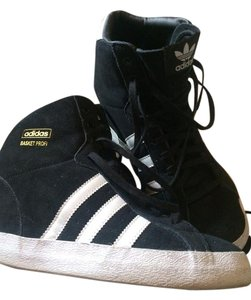 Adidas High Top Wedge White Stripes Sneaker Black Athletic