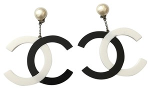 Chanel Chanel #7178R ONLY ONE LARGEST XXXL Extra large CC two tone black white silver chain pearl Clip on earrings