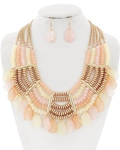 Gold Tone / Pink & Multi Color Necklace & Earring Set