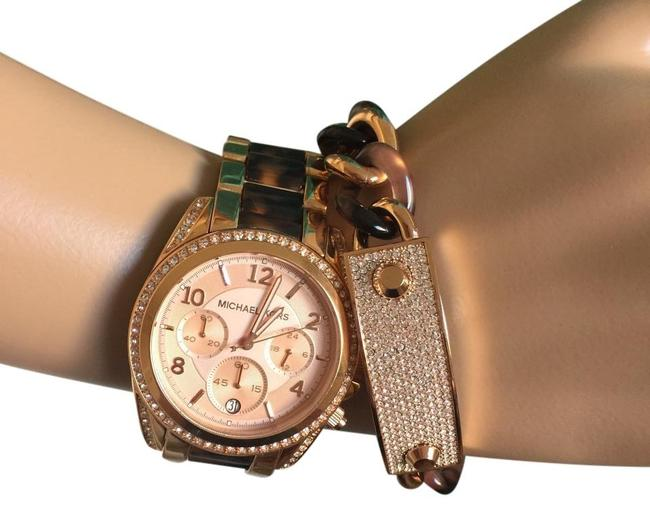 Item - Multicolor Blair Rose Gold and Tortoise Chrono Mk5859 Watch