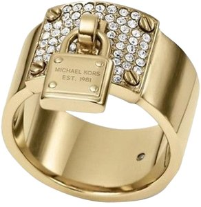 Michael Kors NWT Gold Tone Crystal Plaque Padlock Ring MKJ33287106 Size 6