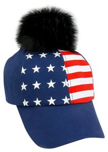 Other American Flag Navy Blue Pom Pom Baseball Cap Hat