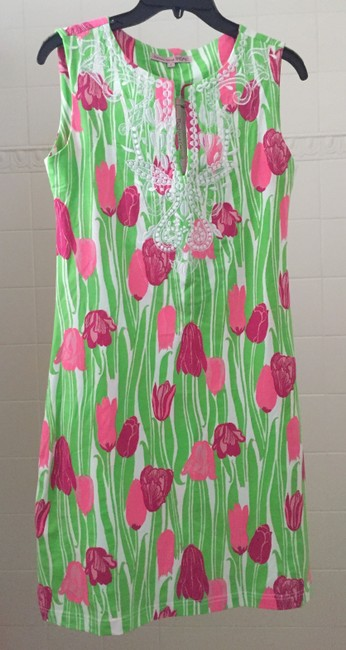 Item - Pink/Green/White *new* Resort Wear Mid-length Short Casual Dress Size 4 (S)