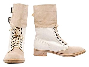 Reed Krakoff Mid Calf Suede Canvas Lace Up Tan & Bone Boots