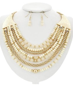 Other Gold Tone, Ivory Acrylic Multi Row Necklace & Earring Set