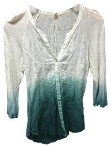 Tiny Ombre Anthropologie Top Blue Green