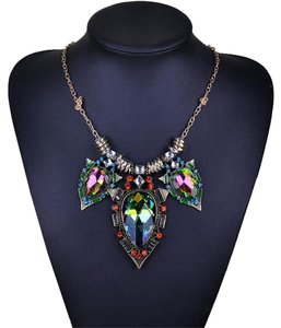 Other New Crystal Bib Necklace Rainbow Gold Tone Chunky Large J2696