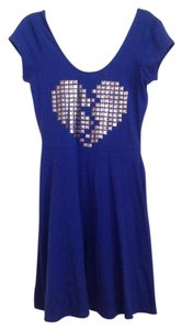 Material Girl short dress Blue Studs Heart Skater on Tradesy
