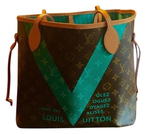 Louis Vuitton Teal Neverfull Tote in Brown