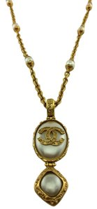 Chanel Chanel Gold Plated Chain Link CC Pearl Pendant Long Necklace