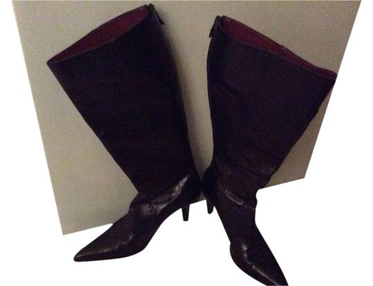 Ann Taylor Zipper Leather Detail Black Boots