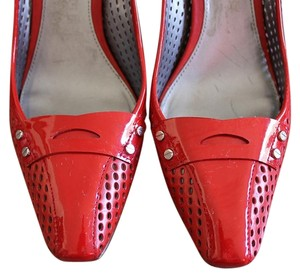 Via Spiga Patent Red Leather Waffle Cherry Red Pumps