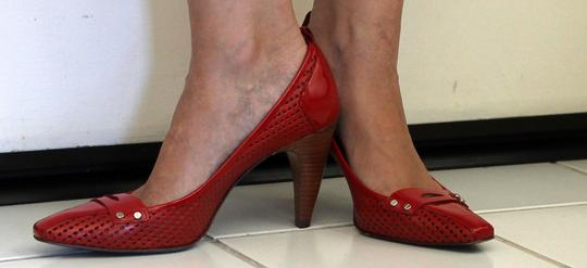 Via Spiga Patent Leather Waffle Cherry Red Pumps