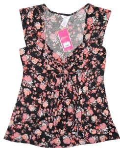 Candie's Flowers Pink Ruffle Top Black Floral