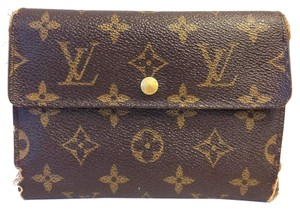 Louis Vuitton #7055 Large Long Monogram trifold Flap Wallet Pocket