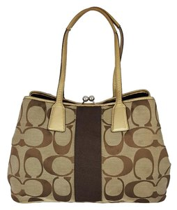 Coach Signature Jacquard Satchel in Khaki / Brown / Gold