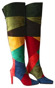 Manolo Blahnik Over-knee Multi Color Boots
