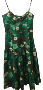Anthropologie short dress Green, tan, brown floral on Tradesy