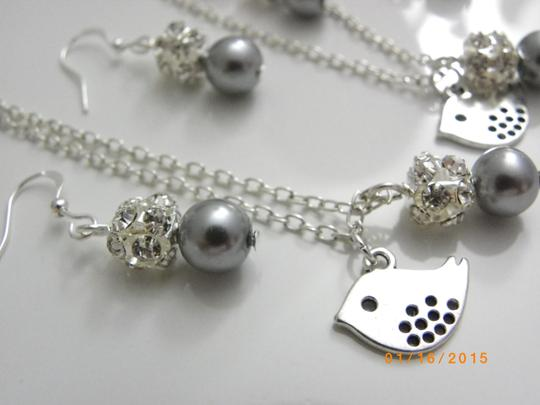 Grey Pink Cream White Of 6 Bridesmaid Necklaces and Earrings Jewelry Set
