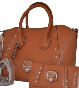 Guess Faux Leather Free Shipping Satchel in BROWN COGNAC