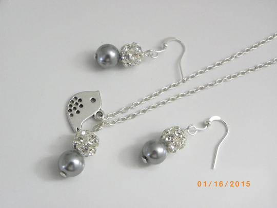 Grey Pink Cream Of 7 Bridesmaid Necklaces and Earrings Jewelry Set
