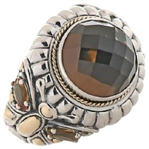 Bali Designs by Robert Manse 6.80ct Smoky Quartz and Citrine Sterling Silver and 18K Ring - Size 8