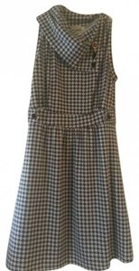 Monteau via Modcloth short dress Black and white Houndstooth Cowl Neck Buttons Mod on Tradesy