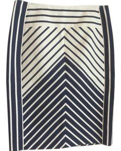 J.Crew Pencil Nautical Skirt Navy and white