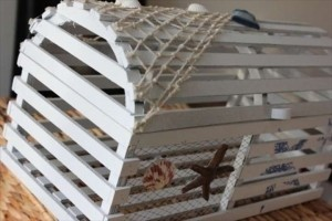 White Lobster Trap Card Box Holder Cage