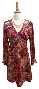 Nanette Lepore Long Sleeve Multicolor Silk Dress