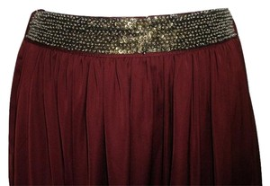 Zara Beaded Stretchy Maxi Skirt Maroon