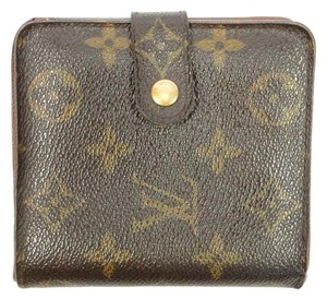 Louis Vuitton Authentic LOUIS VUITTON Zip Around Brown Monogram Leather Long Wallet Made U.S.A