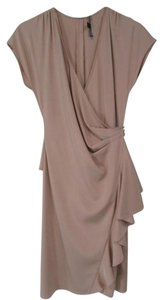 Lafayette 148 New York Silk Wrap Sheath Cap Sleeve Ruffled Dress