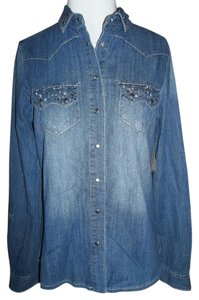 Vanity Medium Blue Rhinestones Bling Snap Buttons Button Down Shirt Blue Denim