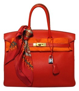 Hermès Birkin Birkin Birkin Clemence Leather Rouge Vif Tote in Red