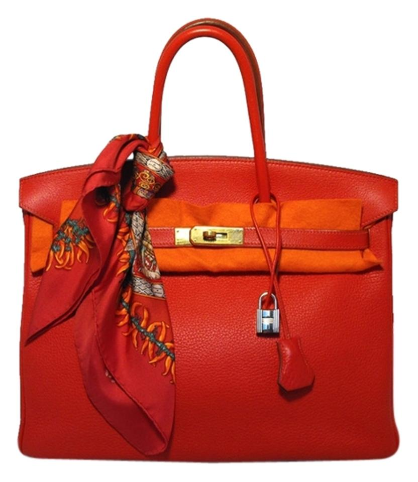 5d245dddab23 Hermès Birkin Birkin Birkin Clemence Leather Rouge Vif Tote in Red Image 0  ...