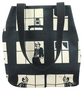 Chanel Canvas Window Windows Coco Tote in Black White