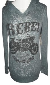 Rocker Girl Graphic Motorcycle Rebel Small T Shirt gray