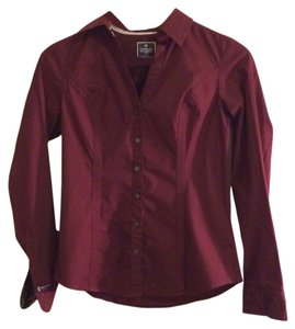 Express Button Down Shirt Maroon
