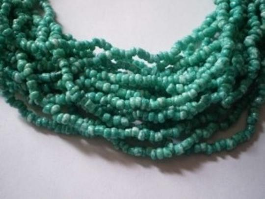 Unknown Multi-strand green & white seed beads necklace