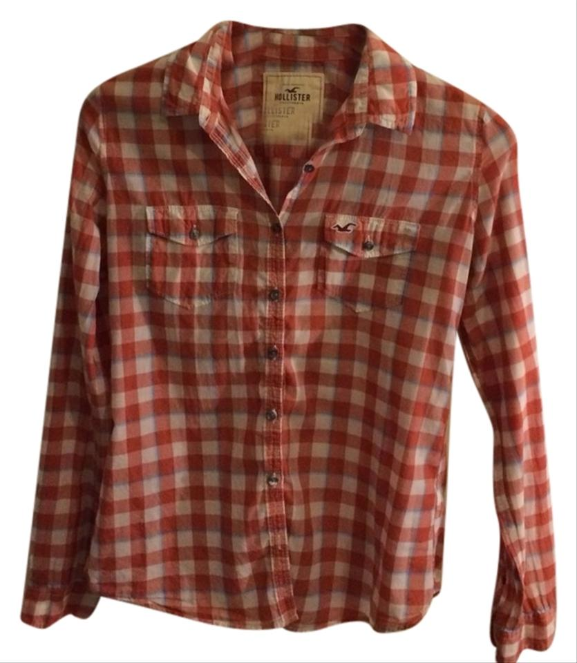 Hollister red and blue plaid button down shirt 48 off for Red and white button down shirt