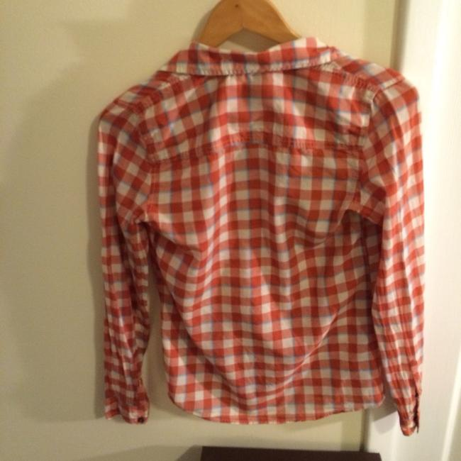 Hollister Button Down Shirt Red And Blue Plaid